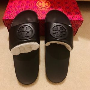 NWT Tory Burch Lina Leather Slide Sandals
